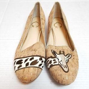 C. WONDER giraffe embroidered cork loafers